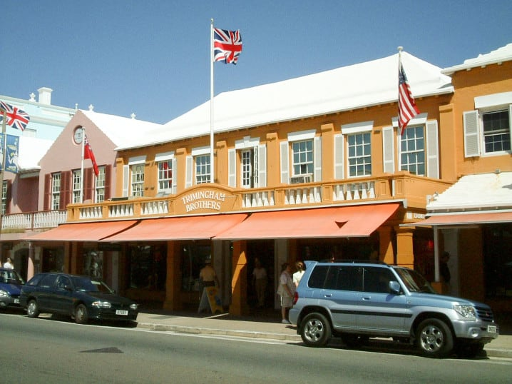 View of Triminghams department store on Front Street in Hamilton, Bermuda