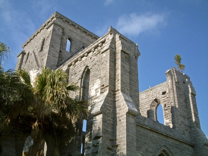 View of the Unfinished Church in St George, Bermuda